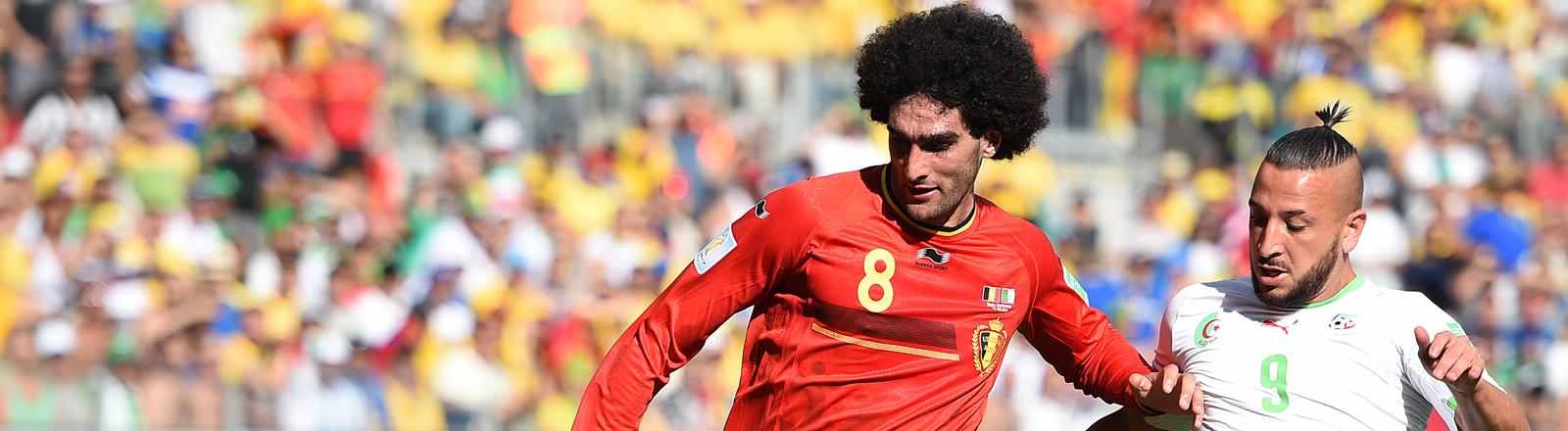 Der belgische Spieler Marouane Fellaini und Algeriens Stürmer Nabil Ghilas im Kampf um den Ball.