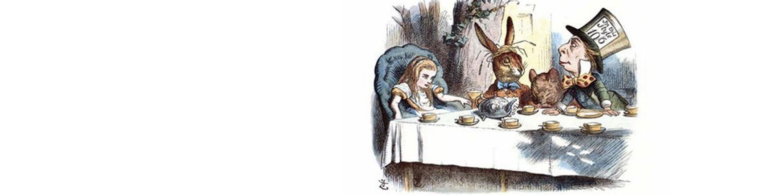 John Tenniel illustriert Alice im Wunderland 1865. Das Bild zeigt Alice bei der Teegesellschaft.