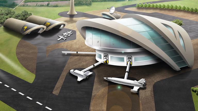 Ein Computerbild des geplanten Weltraumbahnhofs; Bild: UK Space Agency / dpa