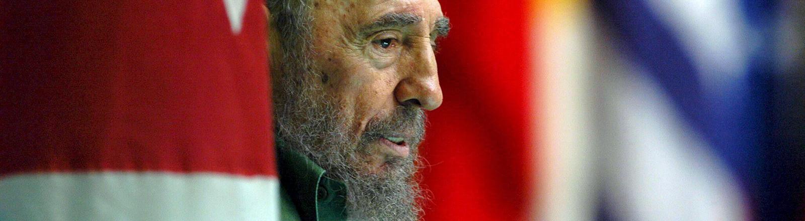 Kubas Ex-Präsident Fidel Castro am 09.06.2006 steht zwischen einigen Flaggen herum und guckt halt.