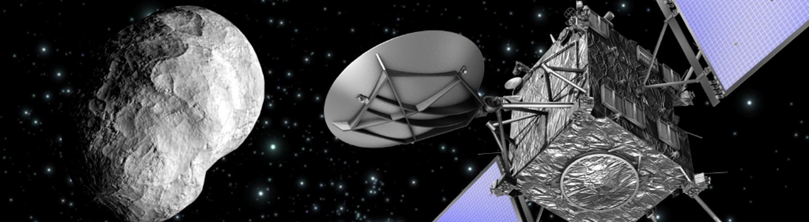 Symbolbild der Raumsonde Rosetta und des Kometen Tschuri