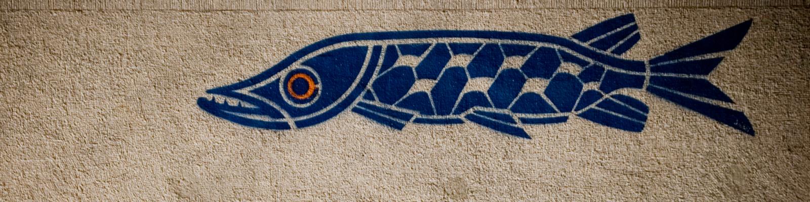 Ein Fisch-Graffiti auf einer Mauer