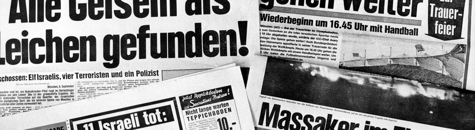 """Schwarz-Weiß-Foto. Zeitungen liegen nebeneinander. Zu lesen ist """"11 Israeli tot"""" oder auch """"Massaker im Flutlicht""""."""