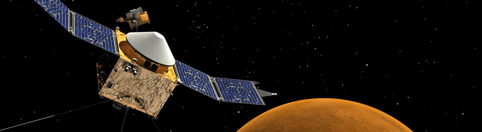 Zeichnung zeigt die Sonde Maven, im Hintergrund den Planeten Mars; Bild: dpa