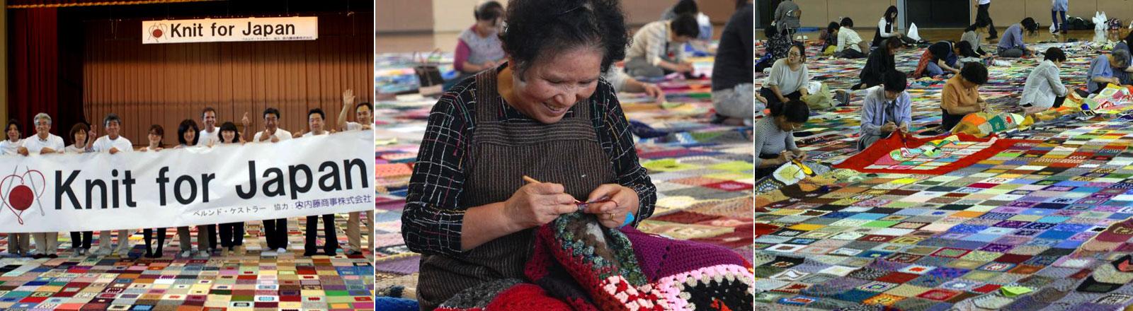 Das Projekt Knit for Japan fertigte die größte Decke der Welt.