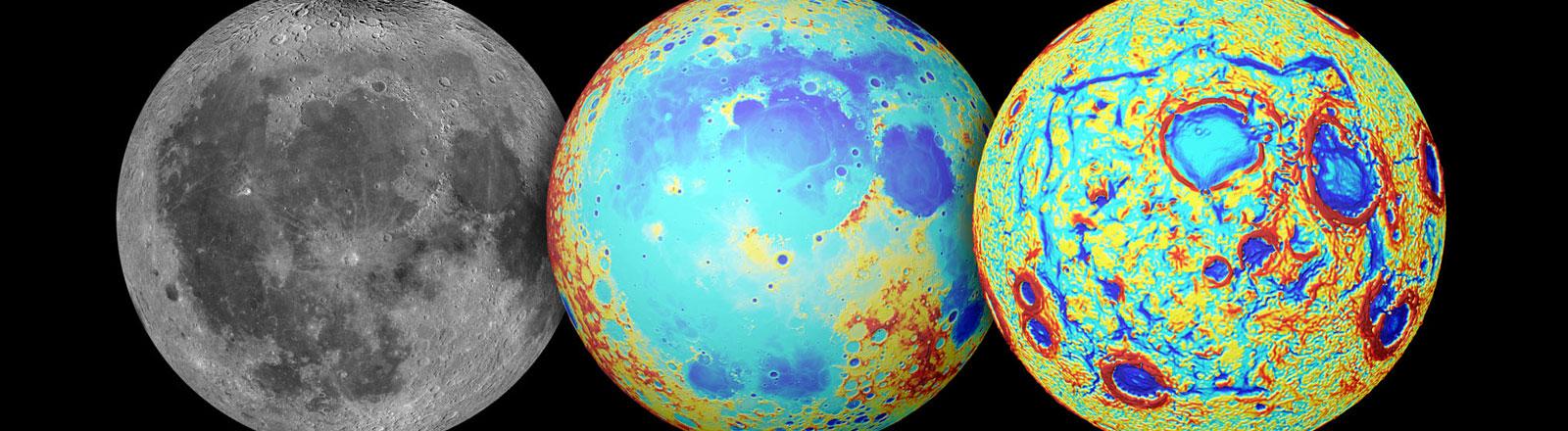Verschiedene Abbildungen des Mondes.