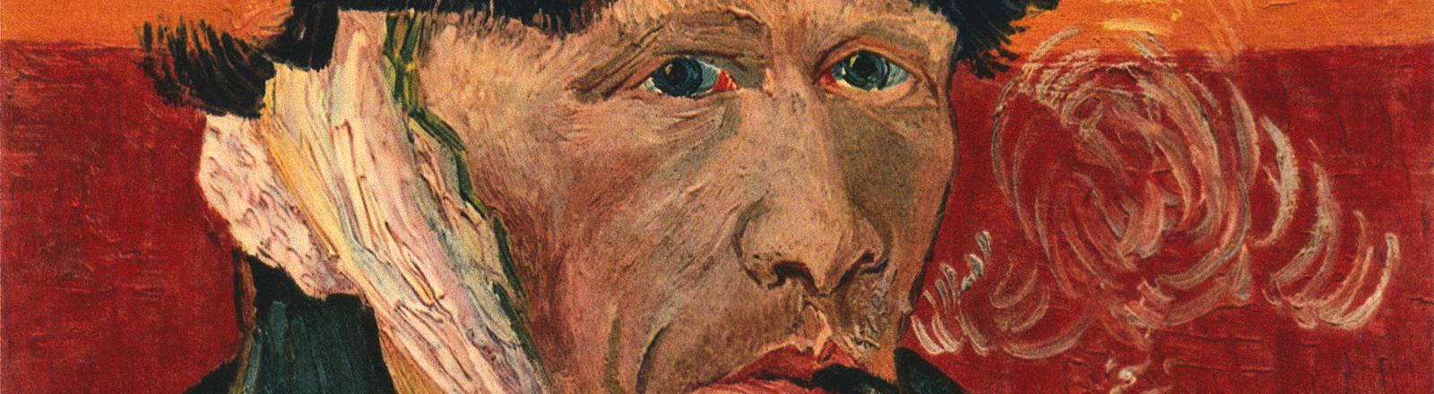 """Selbstbildnis des niederländischen Malers Vincent van Gogh. Es trägt den Titel """"Selbstbildnis mit Pfeife"""". Darauf ist die verbundene Stelle des abgeschnitten Ohrs zu sehen."""