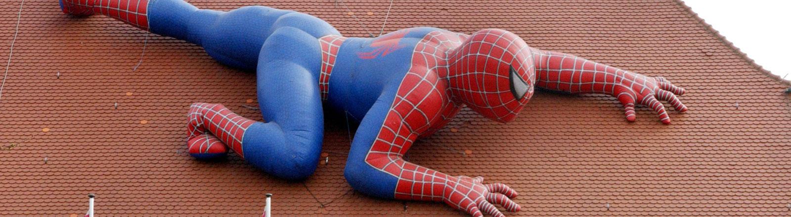 Eine Videothek in Stuttgart auf deren Dach eine Spiderman-Figur liegt. Die Spiderman-Figur ist nach Angaben des Videoverleihers ein Unikat und die größte weltweit.