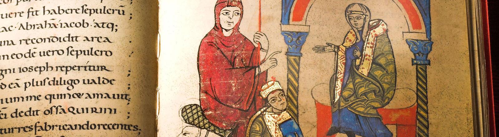 Die Handschrift zeigt die Abbildung des büßenden König Heinrich als früheste Darstellung des Gangs nach Canossa.