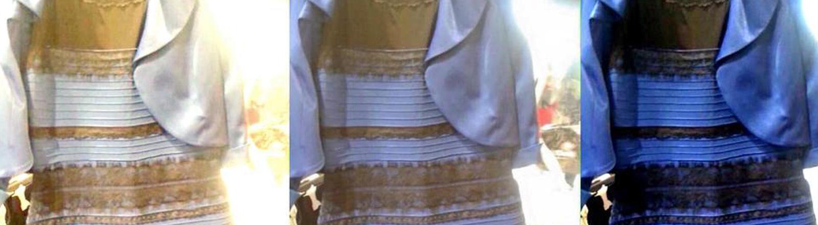 Drei Bilder von einem Kleid: Einmal wirkt das Kleid braun-hellblau, dann braun-lila und dann schwarz-blau.