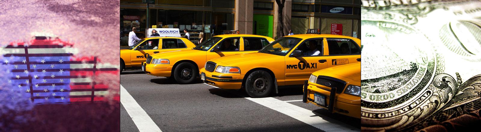 Vier yellow cabs auf einer Straße in New York City.