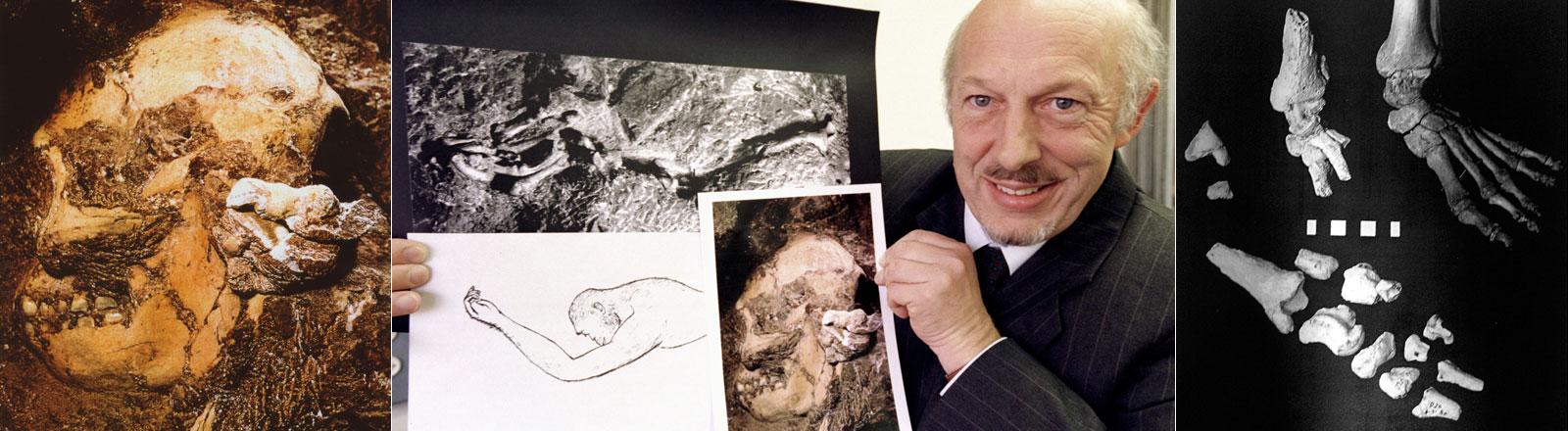 Der Australopithecus Prometheus, genannt Little Foot, und sein Entdecker der Archäologe Dr. Ron Clarke