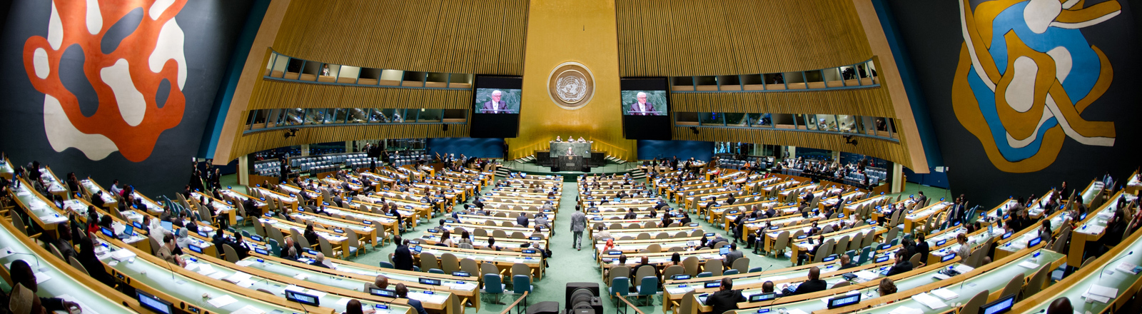 Bundesaußenminister Frank-Walter Steinmeier hält am 27.09.2014 in New York (USA) vor den Vereinten Nationen seine Rede. Mehr als 140 Staats- und Regierungschefs kommen in New York zur UN-Generalversammlung zusammen.