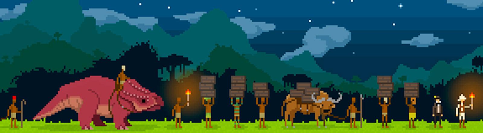 Computerspiel in Pixeloptik. Expeditionkarawane mir Dinosaurier.
