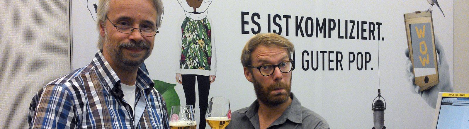 Bier-Sommelier Arnd-Axel Rosenbaum mit Moderator Christian Schmitt