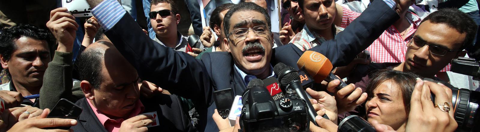 Diaa Rashwan ist Chef der ägyptischen Journalistengewerkschaft und protestiert gegen ein neues Gesetz, das die Pressefreiheit einschränkt.