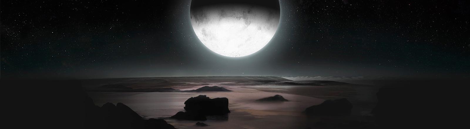 Eisiger Winter auf dem Pluto. Das einzige Licht kommt von den Sternen und dem Mond Charon.