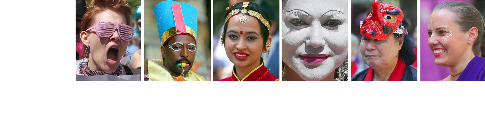 Viele verschiedene Gesichter unterschiedlicher Ethnien