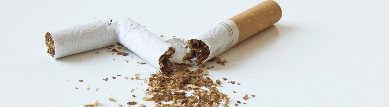 Eine zerbrochene Zigarette