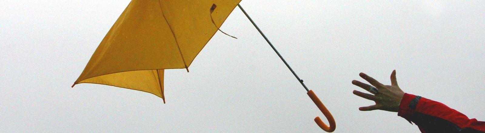 Tief Kyrill reißt einem Fußgänger den gelben Regenschirm aus der Hand.