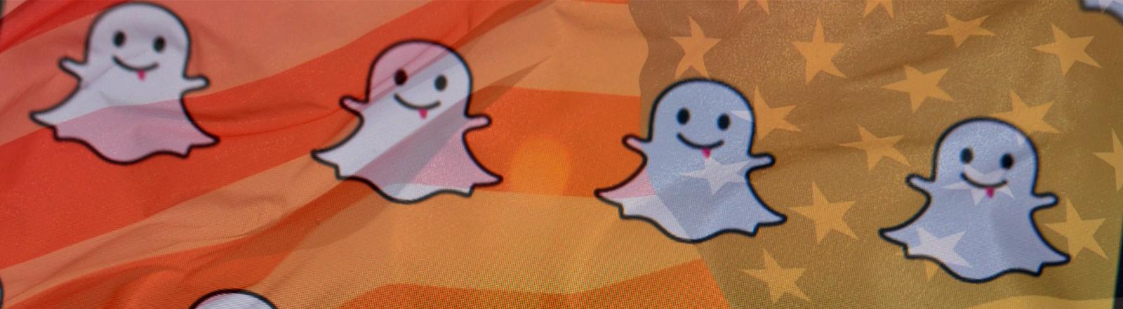 Über dem Snapchat-Logo liegt die US-Flagge.