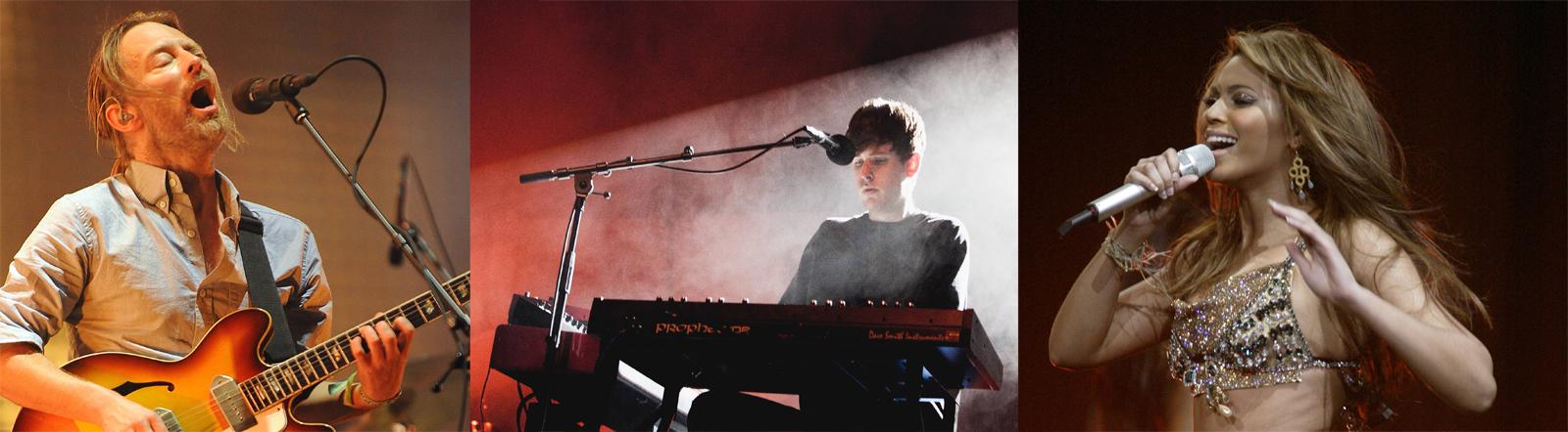 Radiohead-Sänger, James Blake und Beyonce jeweils bei Auftritten auf der bühne. Alle haben Alben rausgebracht, ohne das vorher anzukündigen. Sogenannte Surprise Releases