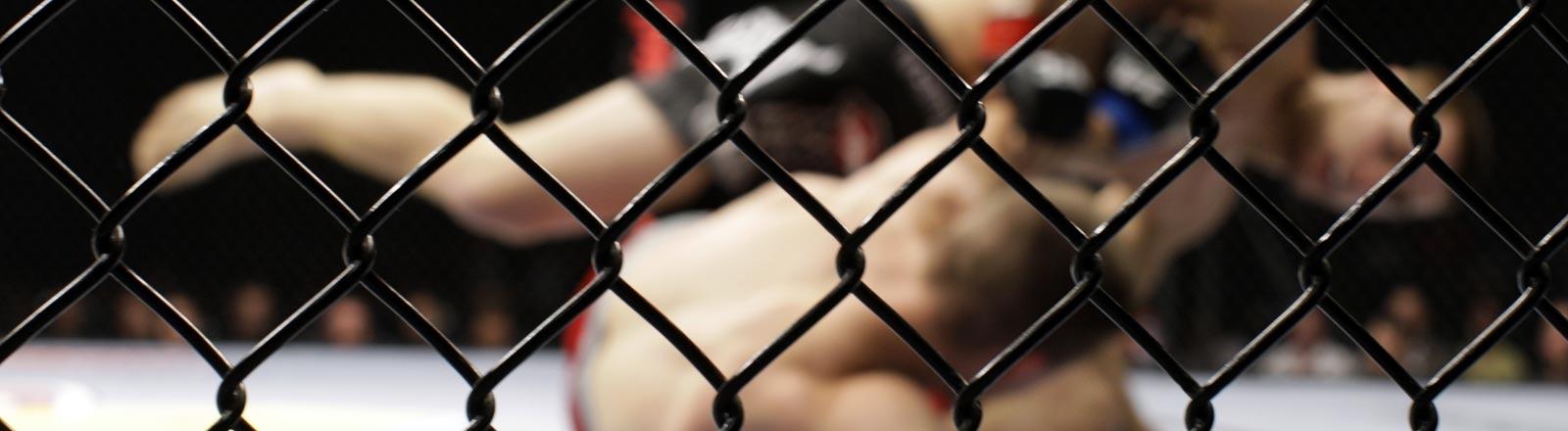 Zwei blutige Mixed-Martial-Arts-Kämpfer bei einem Kampf.