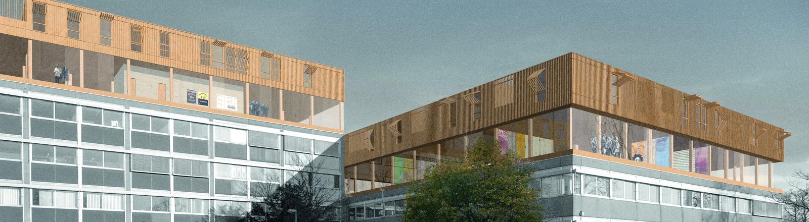Die Studenten Simon Backemann, Tassilo Gerth und Sinje Westerhaus haben die Idee, auf Flachdachbauten Wohnungen für Flüchtlinge einzurichten.