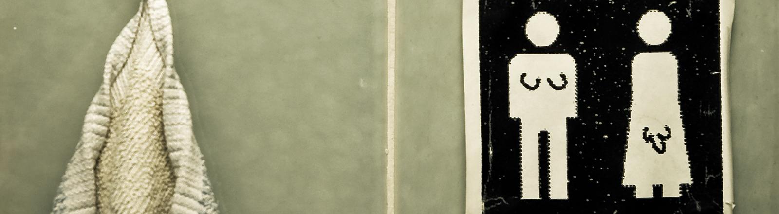 Ein männliches Piktogramm mit weiblichen Geschlechtsmerkmalen und umgekehrt.