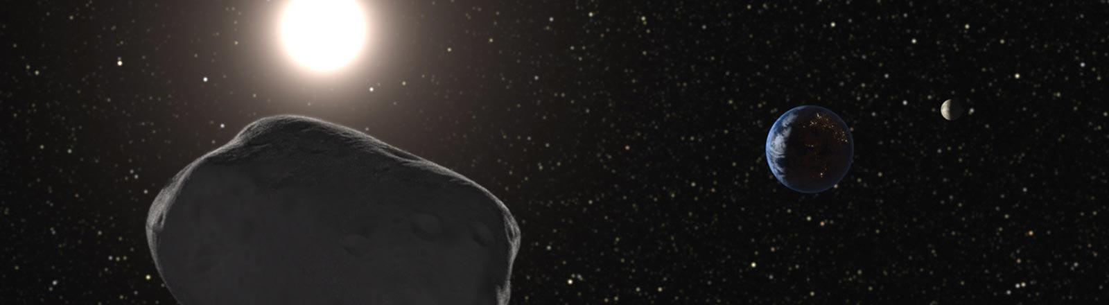 Die Sonne, die Erde und ein Asteroid.