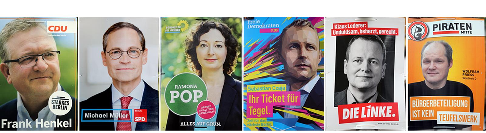 Wahlplakate für die Wahl 2016 zum Berliner Abgeordnetenhaus