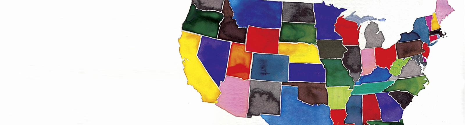 Landkarte der USA.