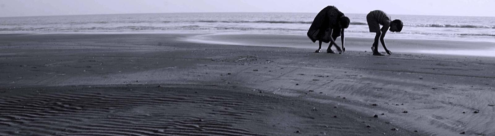 Kinder am Strand von Bangladesch sammeln Schnecken.