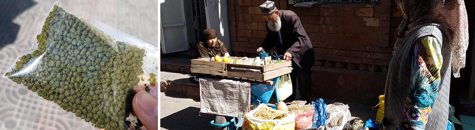 Die legale Droge Chicken-Shit auf dem Markt in Tadschikistan.