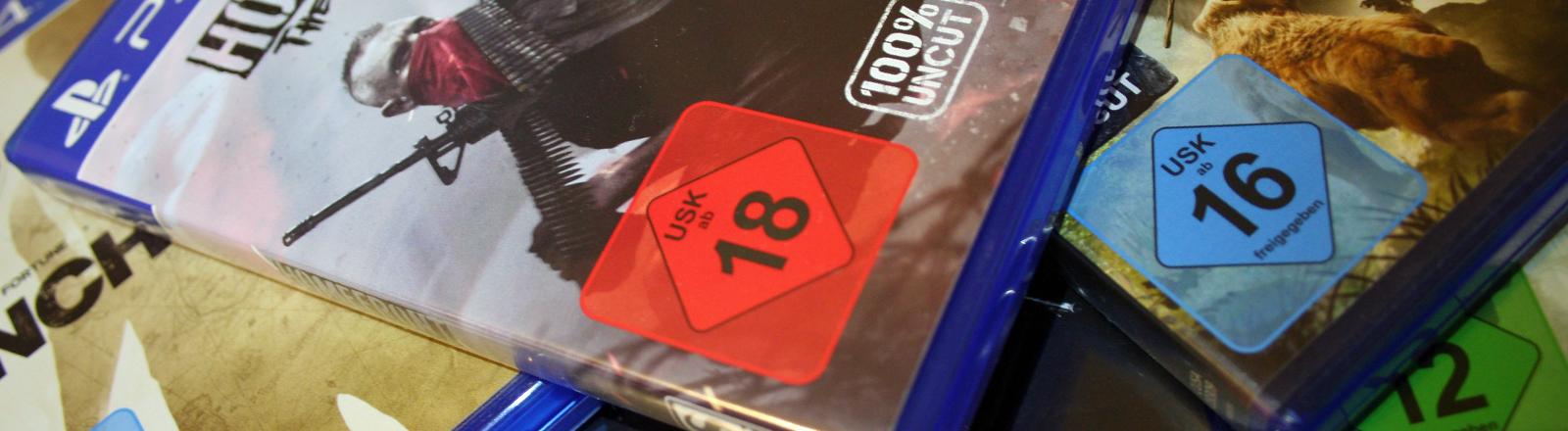 Ein Computerspiel mit einem USK-Logo auf dem Cover.