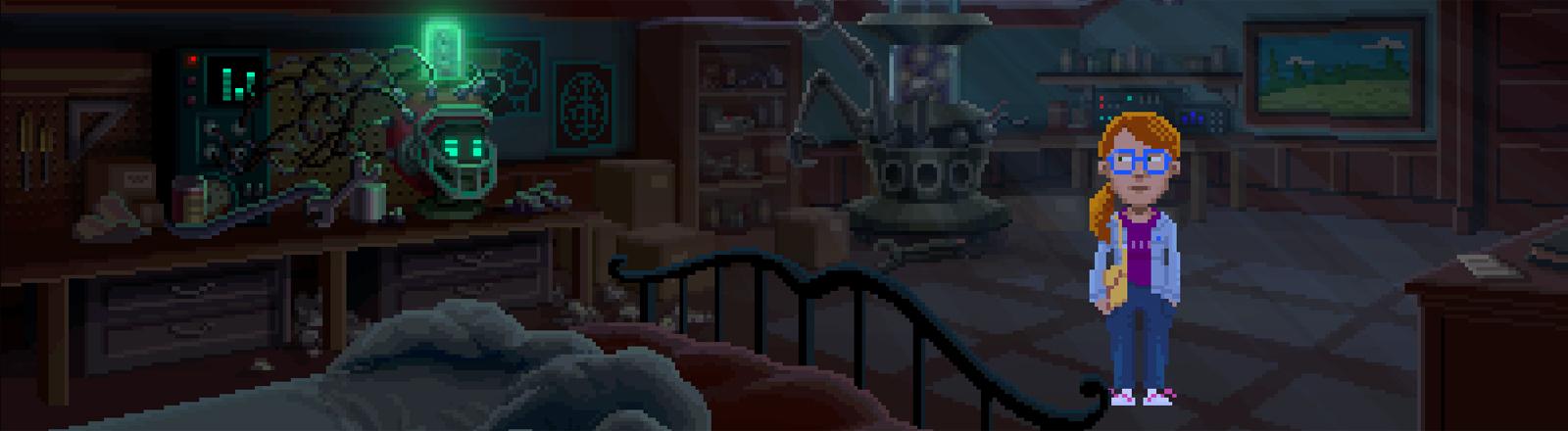 """Eine Szene aus dem Adventure-Game """"Thimbleweed Park"""" von Ron Gilbert."""