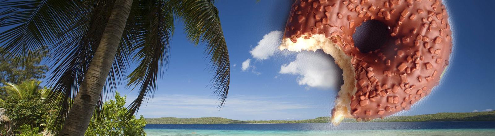Eine tropische Insel. Mit Donut am Himmel.