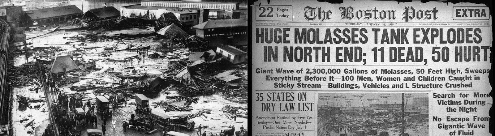 Die Zerstörung nach der großen Melasse-Katastrophe in Boston im Jahr 1919.