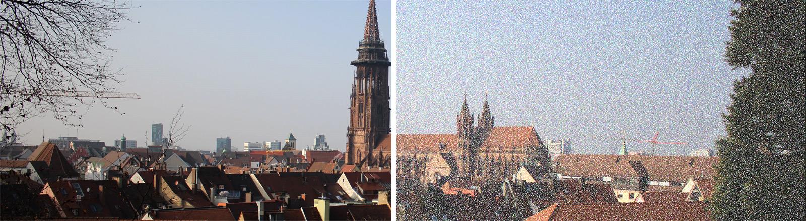 Simulationsbild: Wie ein Visual-Snow-Patient die Welt sieht: Eine Hälfte des Bildes ist weißlich verpixelt.