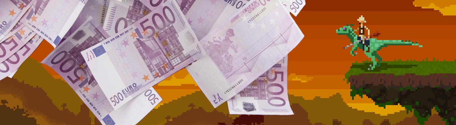 Ein Computerspiel im Geldregen.