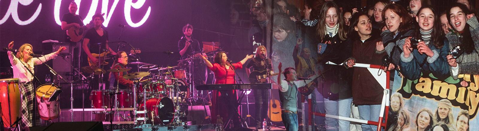 Die Kelly Family bei ihrem Auftritt in Dortmund am 20.05.2017 und Fans aus dem Jahr 1996.