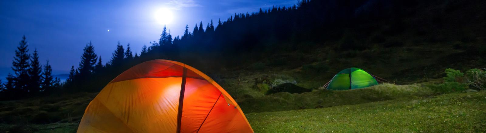 Zelten im Freien.