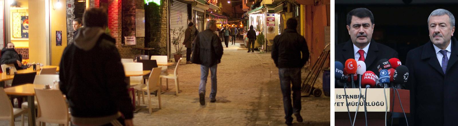 Eine Straße in Istanbul und der Istanbuler Bürgermeister mit dem Polizeichef von Istanbul.
