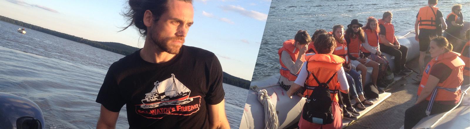 Peter Lanz in einem Flüchtlingsboot.