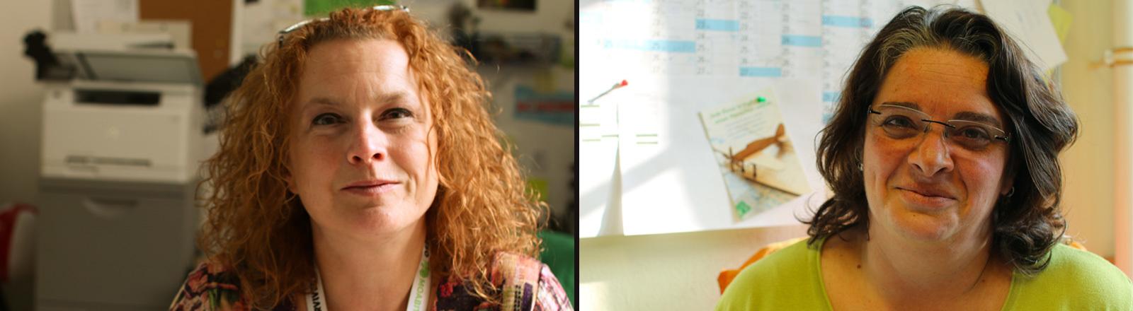 Christiane Beckmann von Moabit hilft e.V. und Lidia Giloni, die ebenfalls in der Flüchtlingshilfe arbeitet.