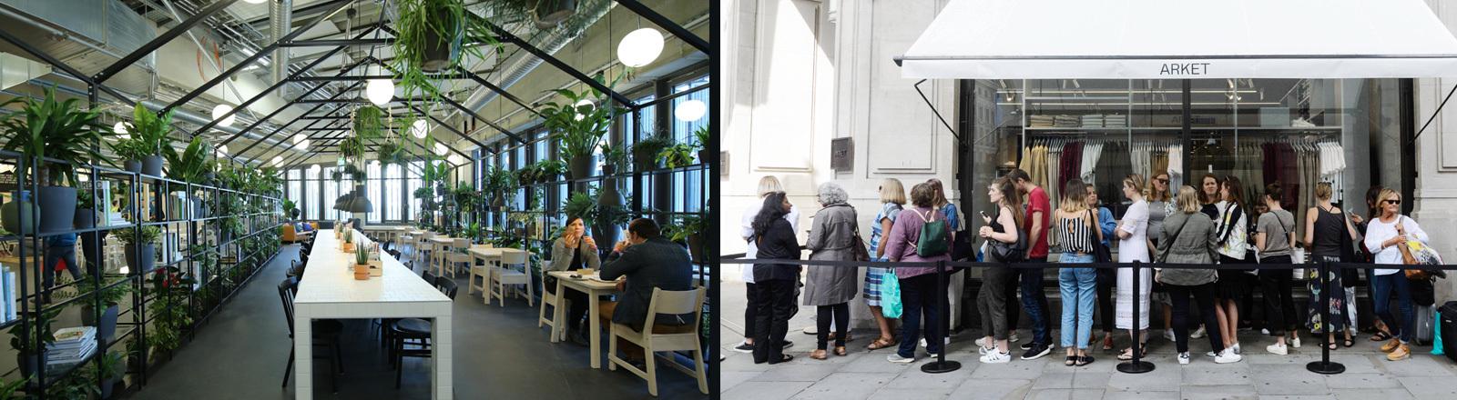 Restaurant im nachhaltigsten Ikea weltweit in Kaarst und Schlange vor einem Arket-Laden in London.
