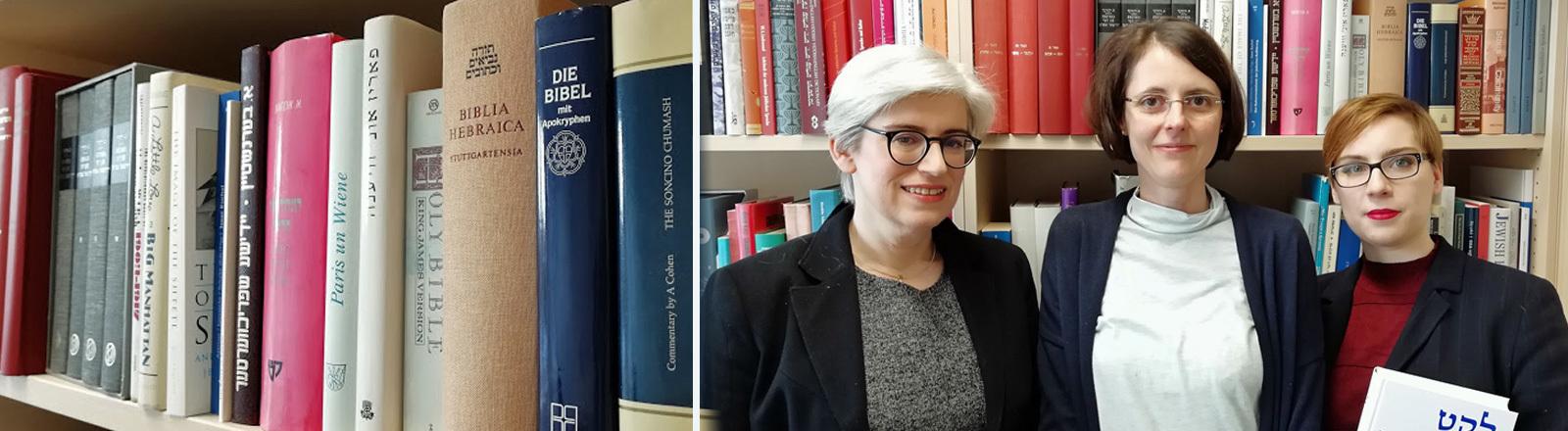 Kleiner Studiengang mit nur drei Studentinnen an der Heinrich-Heine-Universität Düsseldorf Jiddische Kultur, Sprache und Literatur. Zu sehen sind v.l.n.r.: Prof. Marion Aptroot, die Studentinnen Astrid Blees und Anna Rogel