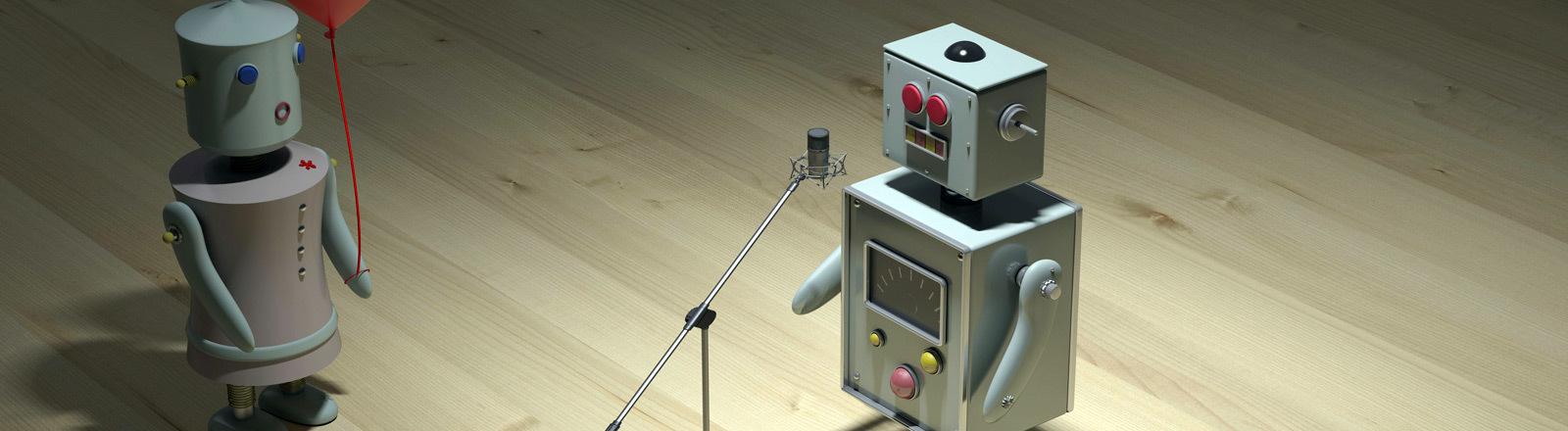 Ein Roboter steht an einem Mikrofon, ein anderer hört ihm zu.