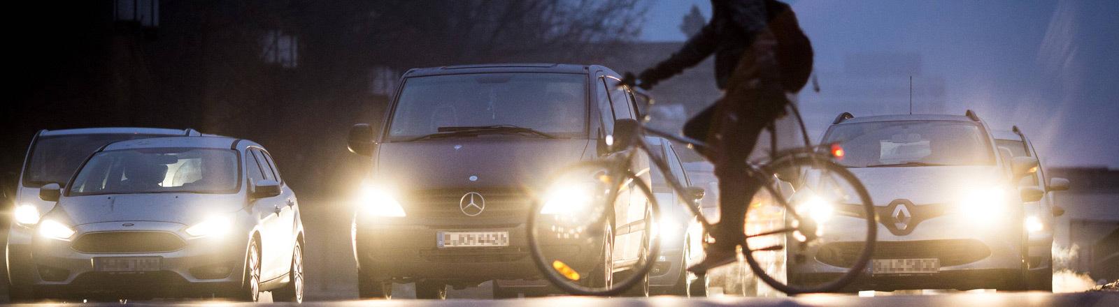 Ein Mann überquert mit seinem Fahrrad eine Straße mit wartenden Autos.