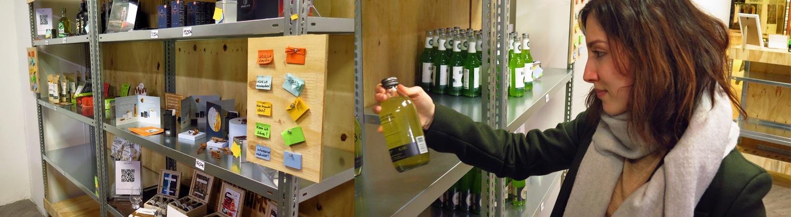 Eindrücke aus dem Start-Up-Supermarkt in Berlin, wo es Produkte zu kaufen gibt, die noch nicht auf dem Markt sind.